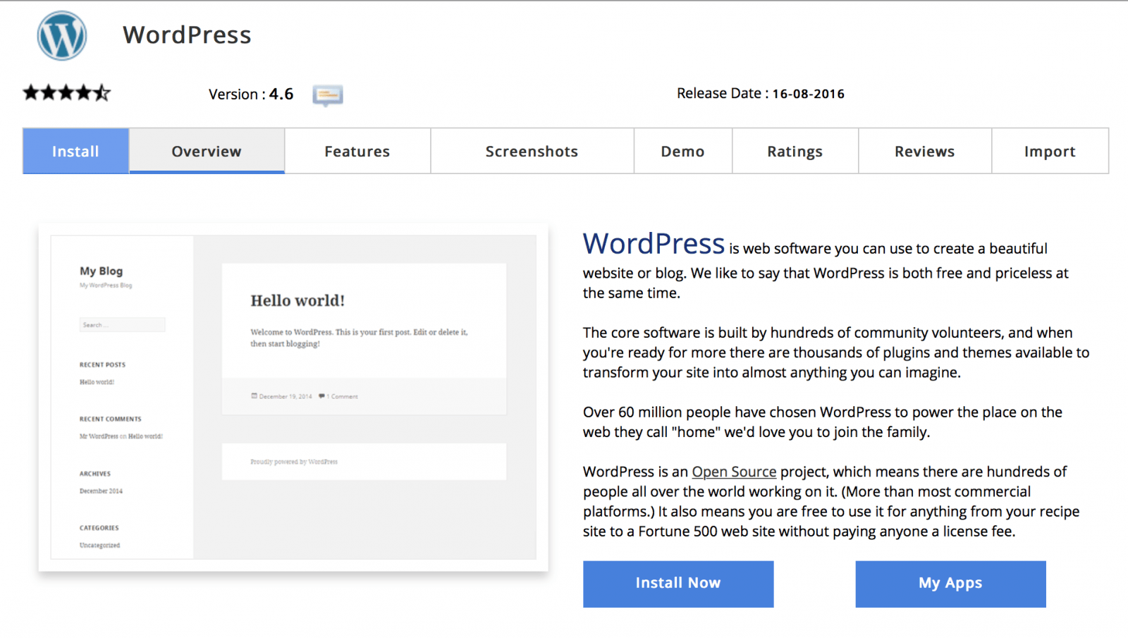 softilicous wordpress install