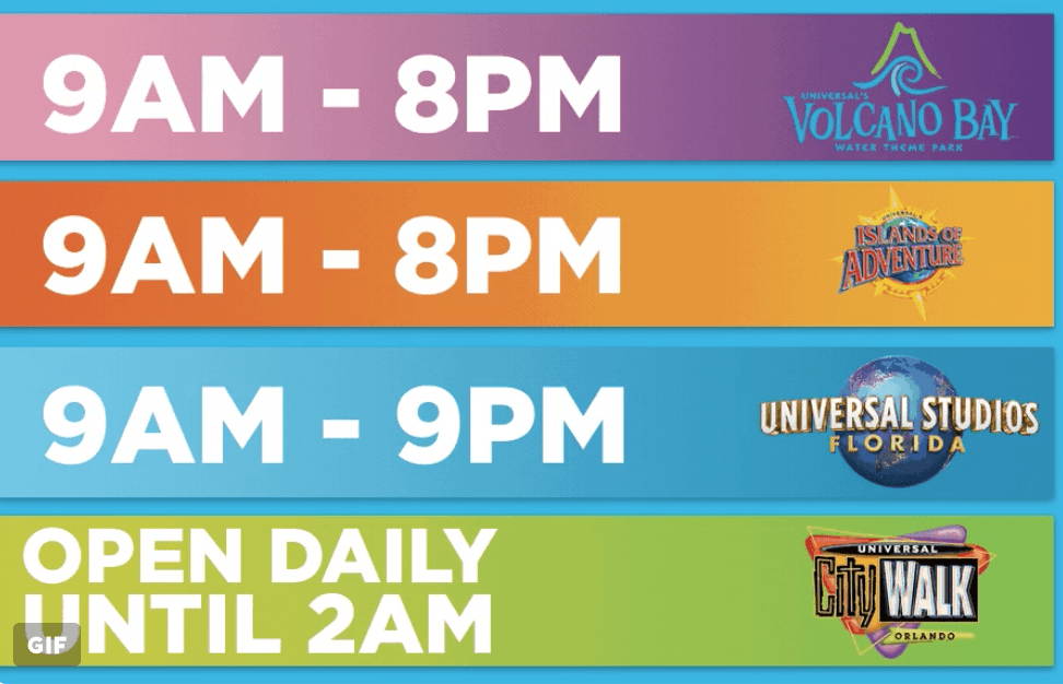 Universal Orlando opening times