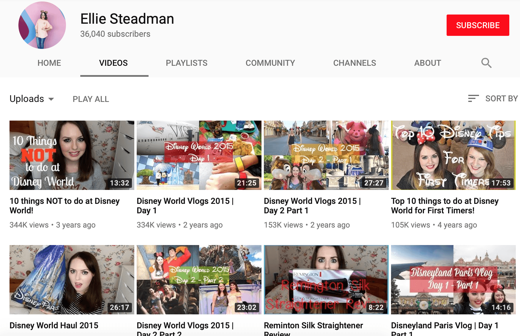 Ellie Steadman YouTube videos