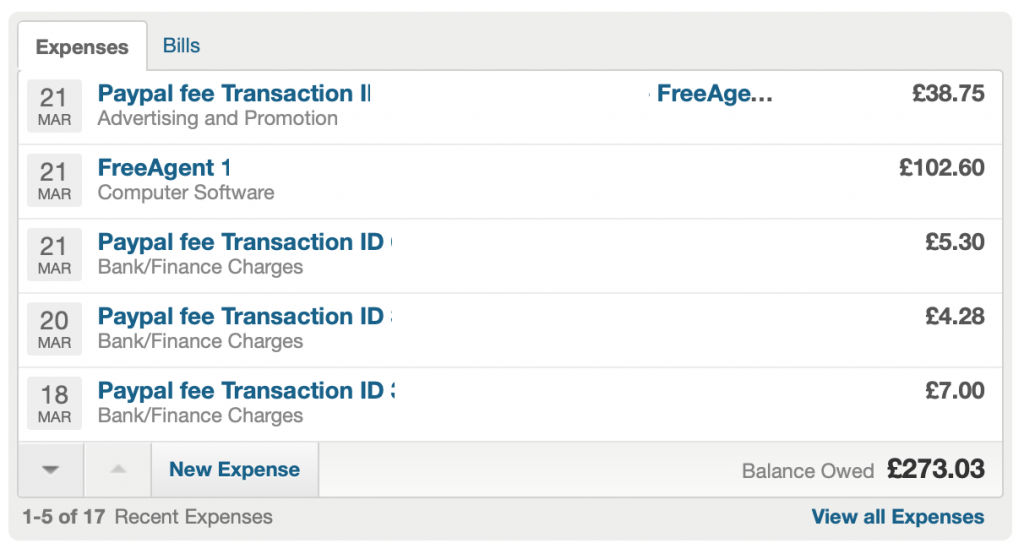 FreeAgent review Expenses