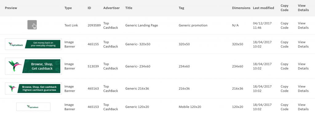 Awin Advertiser Details