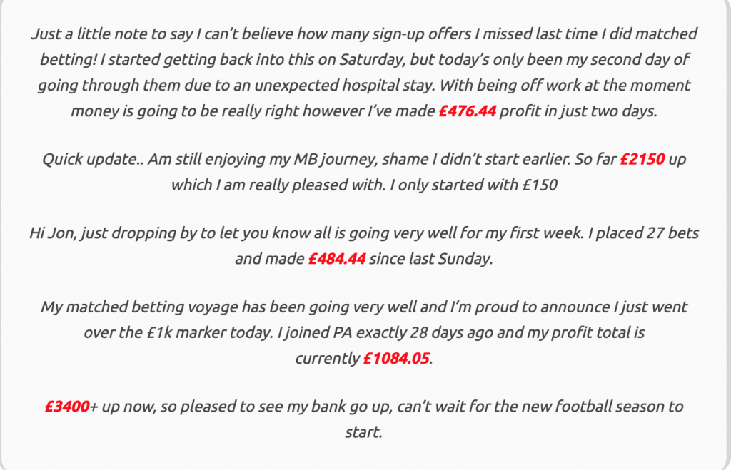 Matched Betting Money Shed User Comments