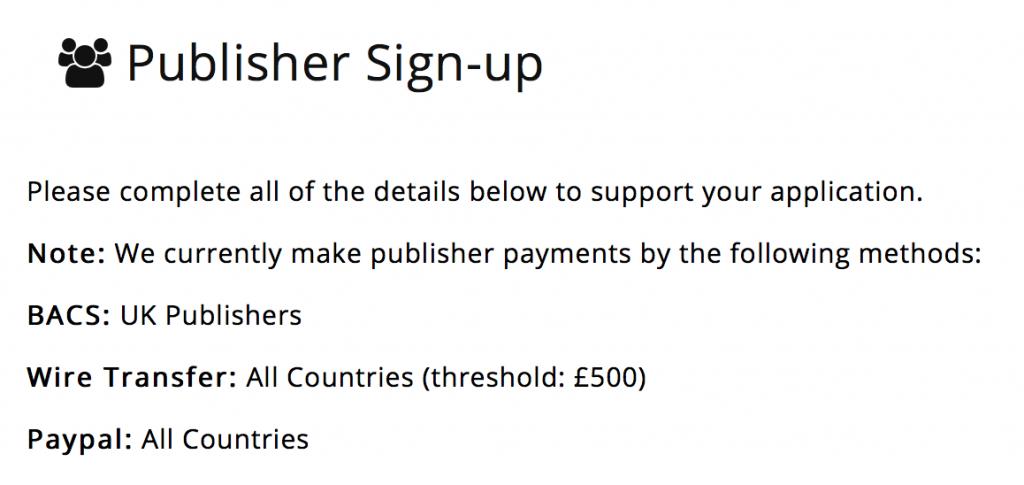 Monetise publisher sign up