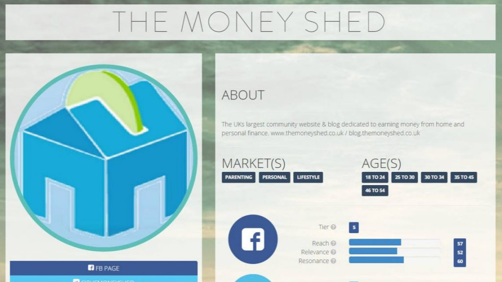 Webfluential dashboard