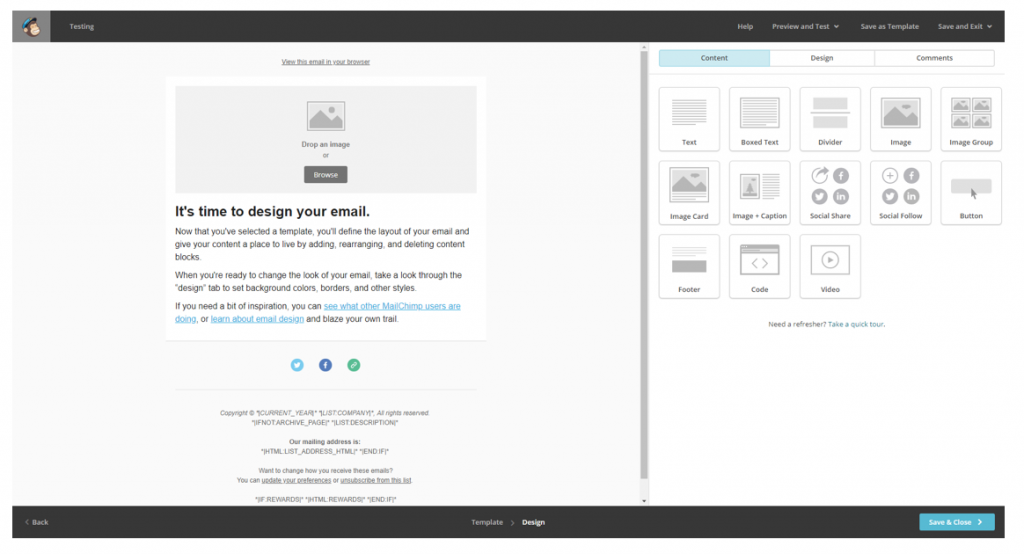 mailchimp drag and drop design