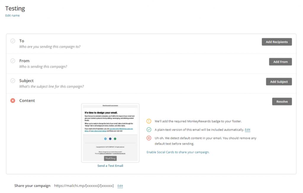 mailchimp set up email
