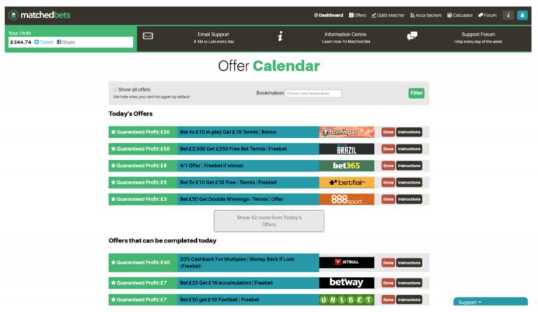 MatchedBets offer calendar