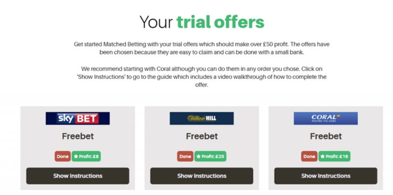 matched bets trial offers