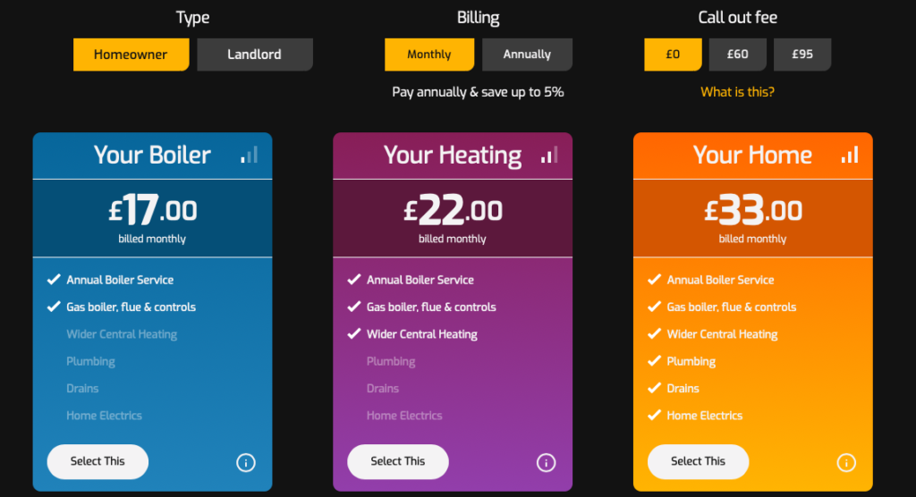 boiler service cost hometree plans