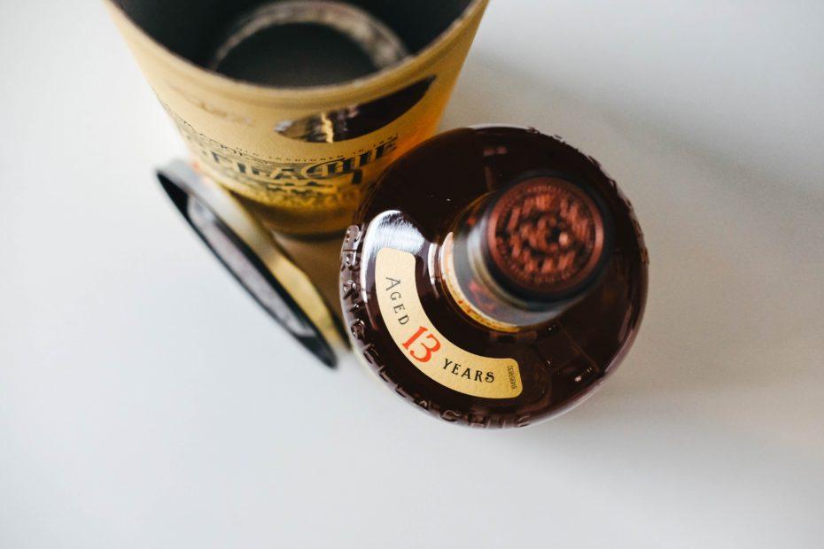 Aged whisky in a dark bottle