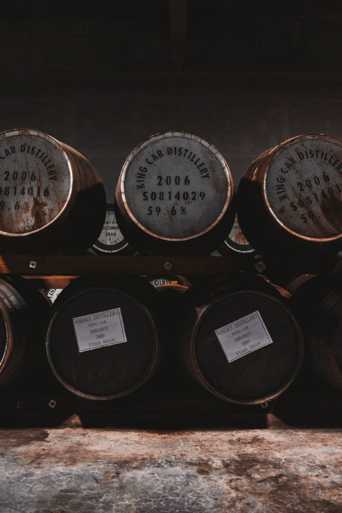 Whisky barrels stacked on top of each other