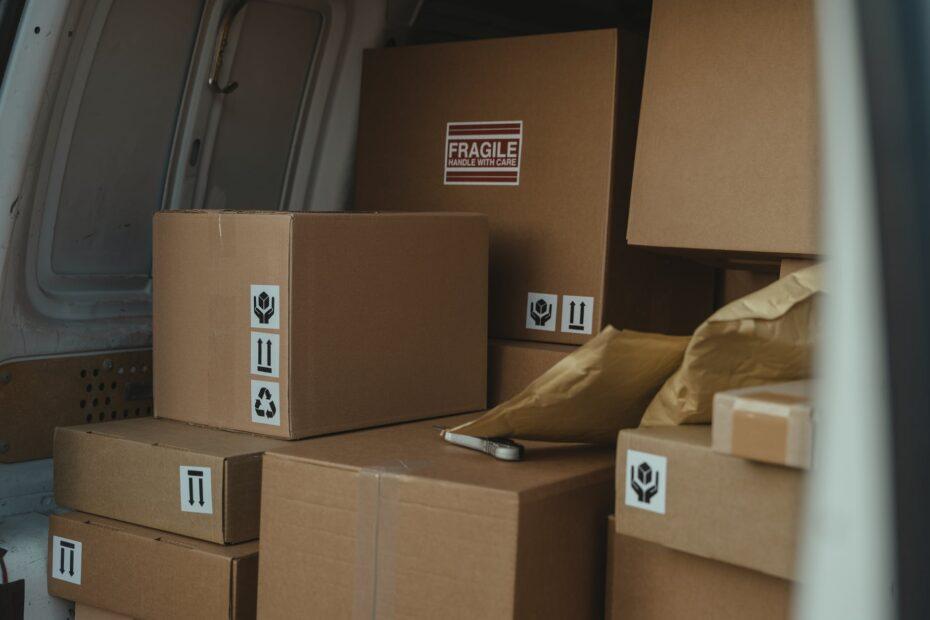 parcels inside a delivery van
